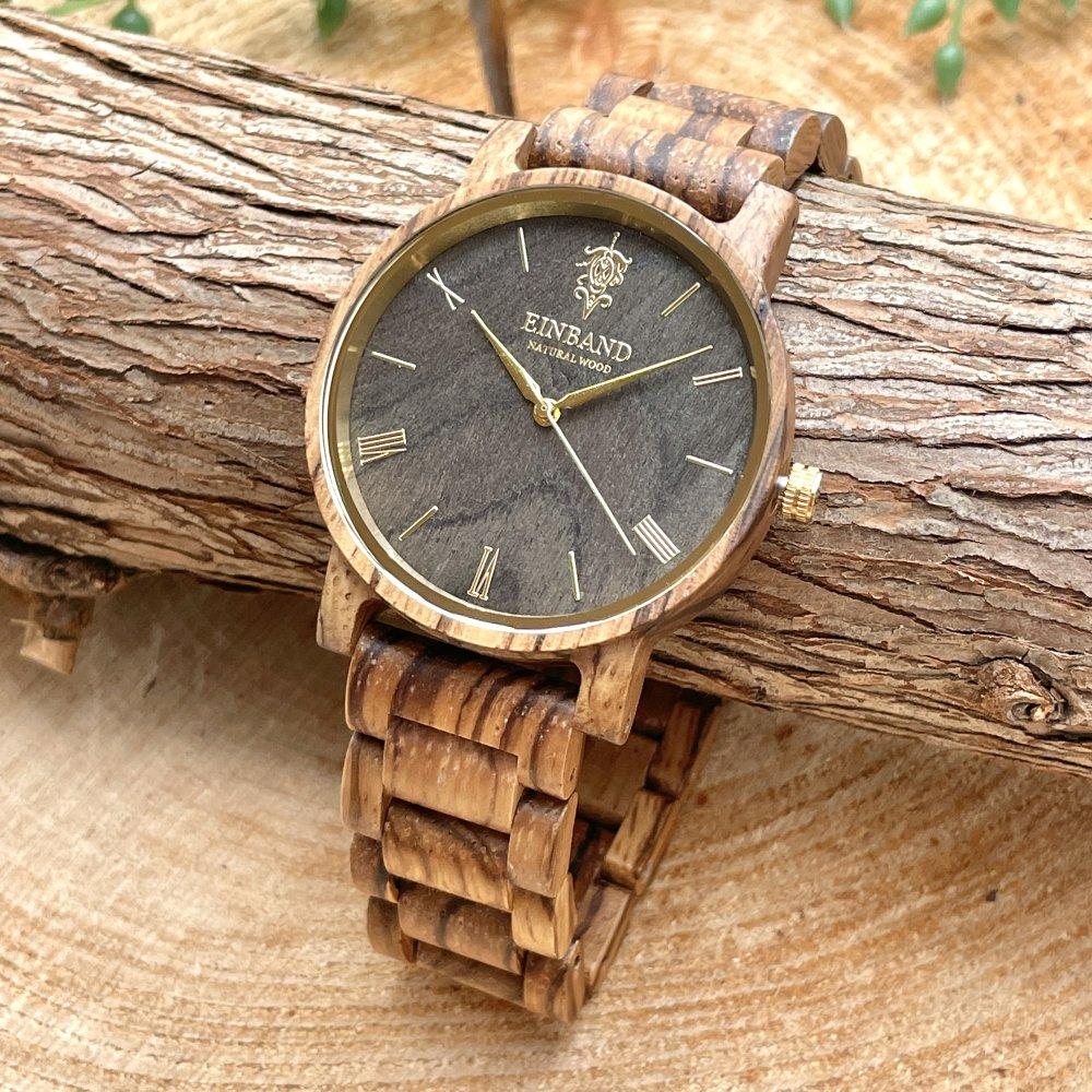 EINBAND Reise ZebraWood & Gold 木製腕時計 40mm
