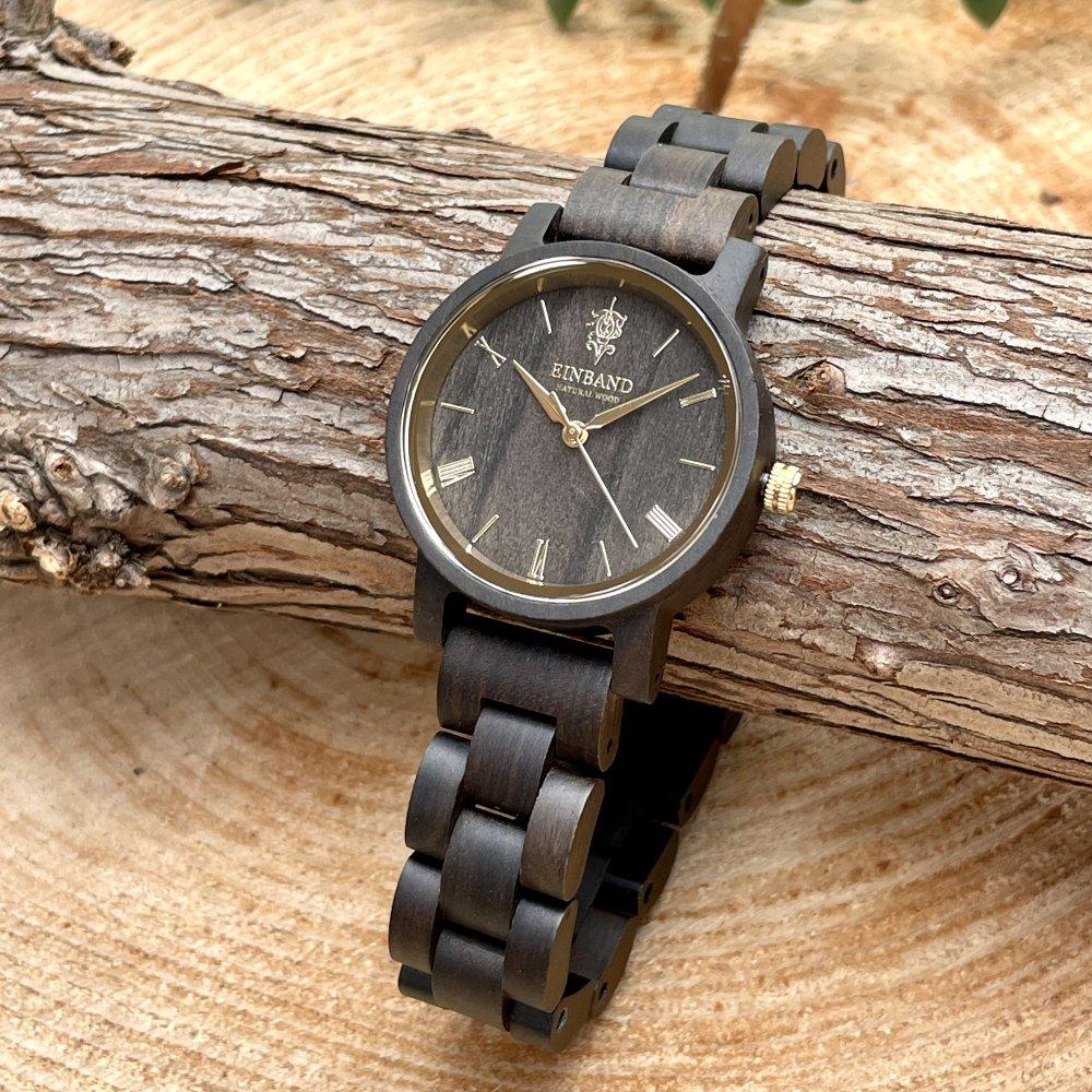 EINBAND Reise SandalWood & Gold 木製腕時計 32mm