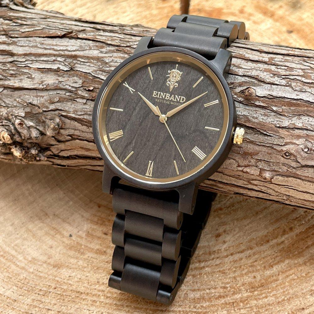EINBAND Reise SandalWood & Gold 木製腕時計 40mm