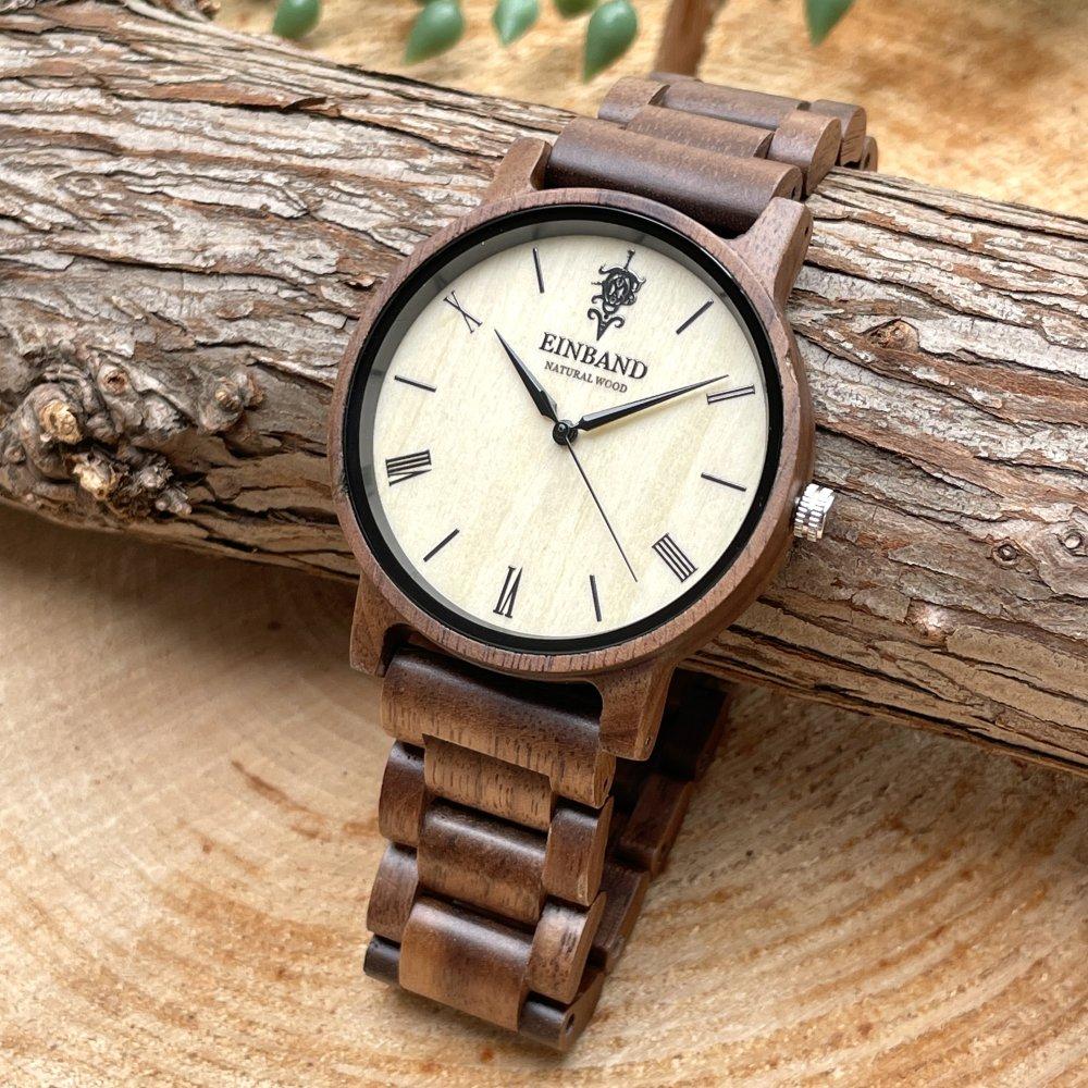 EINBAND Reise Walnut 木製腕時計 40mm