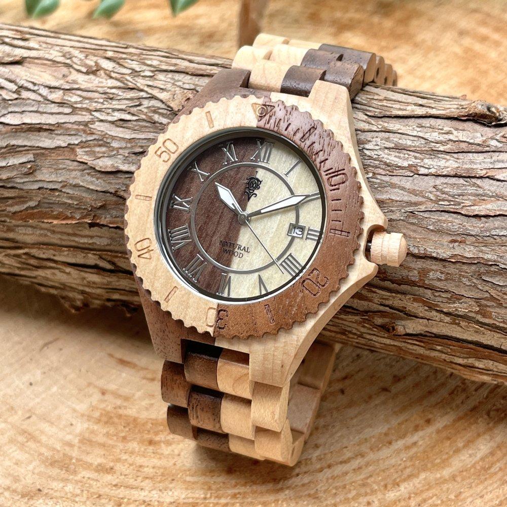 EINBAND Meer Walnut & Maple 木製腕時計 42mm