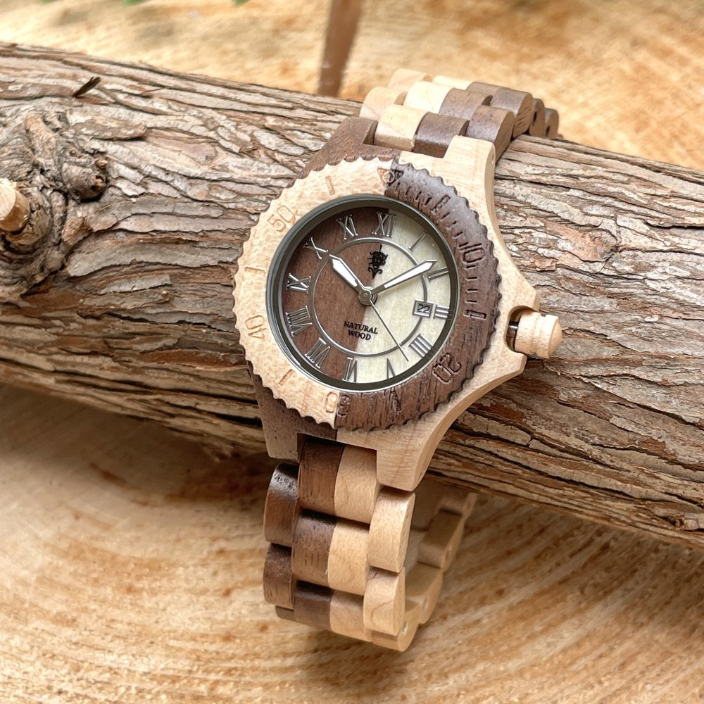 EINBAND Meer Walnut & Maple 木製腕時計 34mm