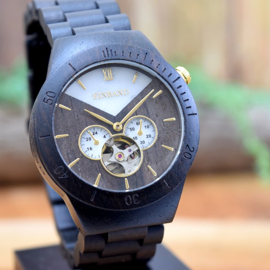 EINBAND Krone Ebony&Arabescato Corchia 40mm  自動巻木製腕時計
