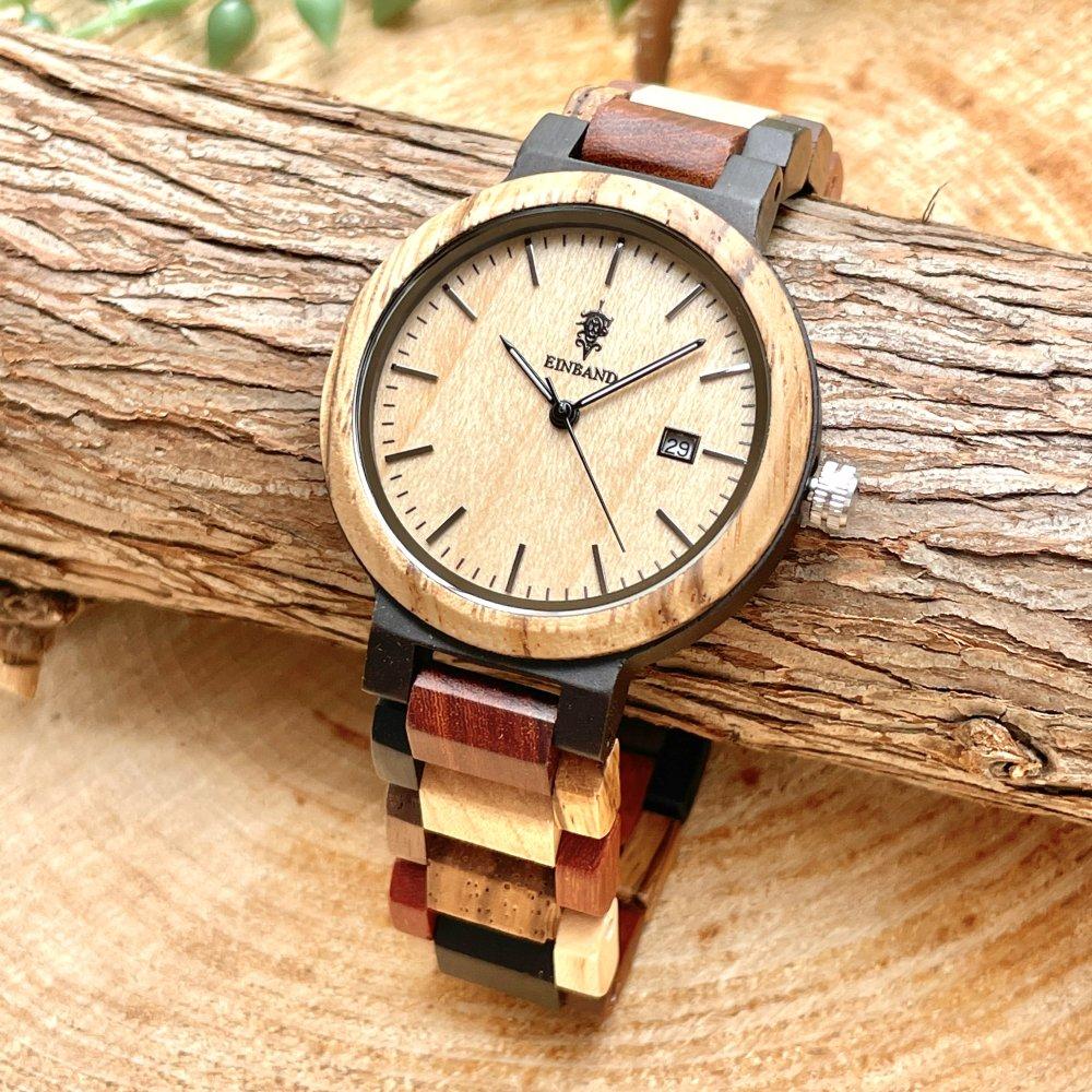 EINBAND Schatz メイプルウッド文字盤 木製腕時計 40mm