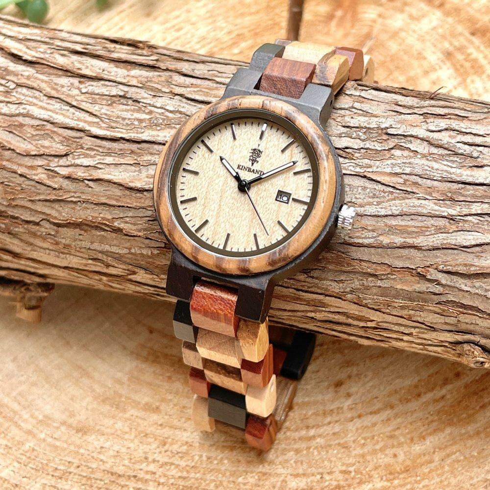 EINBAND Schatz メイプルウッド文字盤 木製腕時計 32mm
