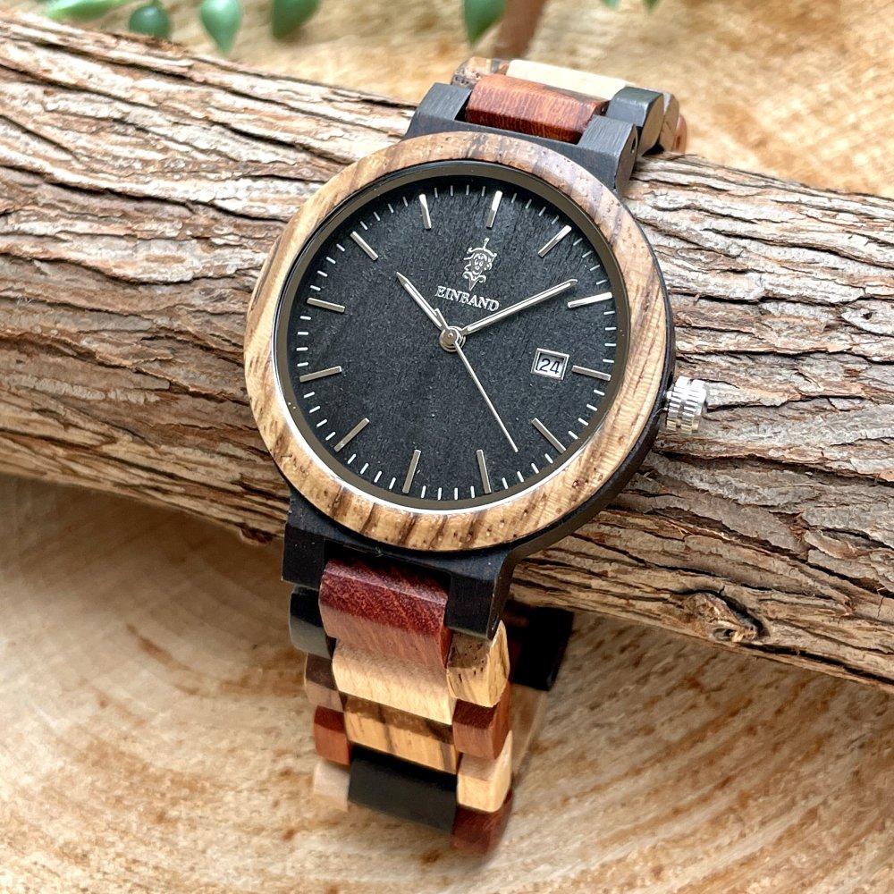 EINBAND Schatz エボニーウッド文字盤 木製腕時計 40mm