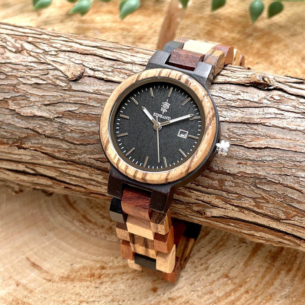 EINBAND Schatz エボニーウッド文字盤 木製腕時計 32mm