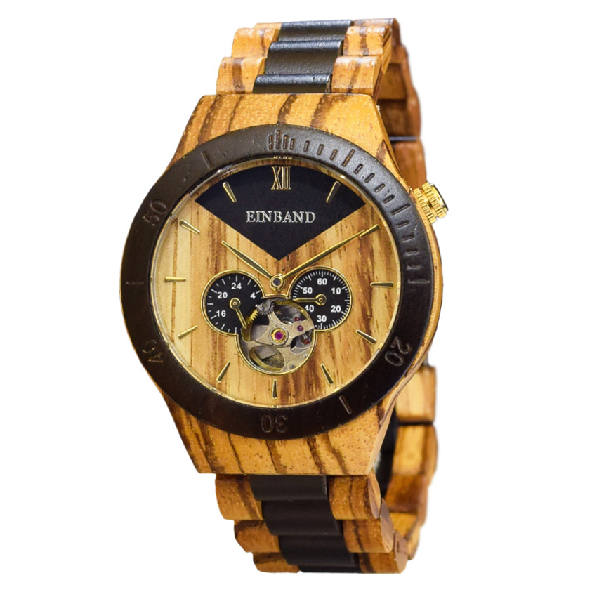 EINBAND Krone Zebra & Ebony 40mm  自動巻木製腕時計