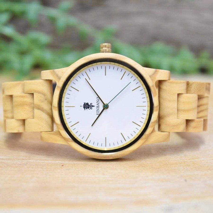 EINBAND Glanz Olive 木製腕時計 木製ベルト  36mm【限定カラー】