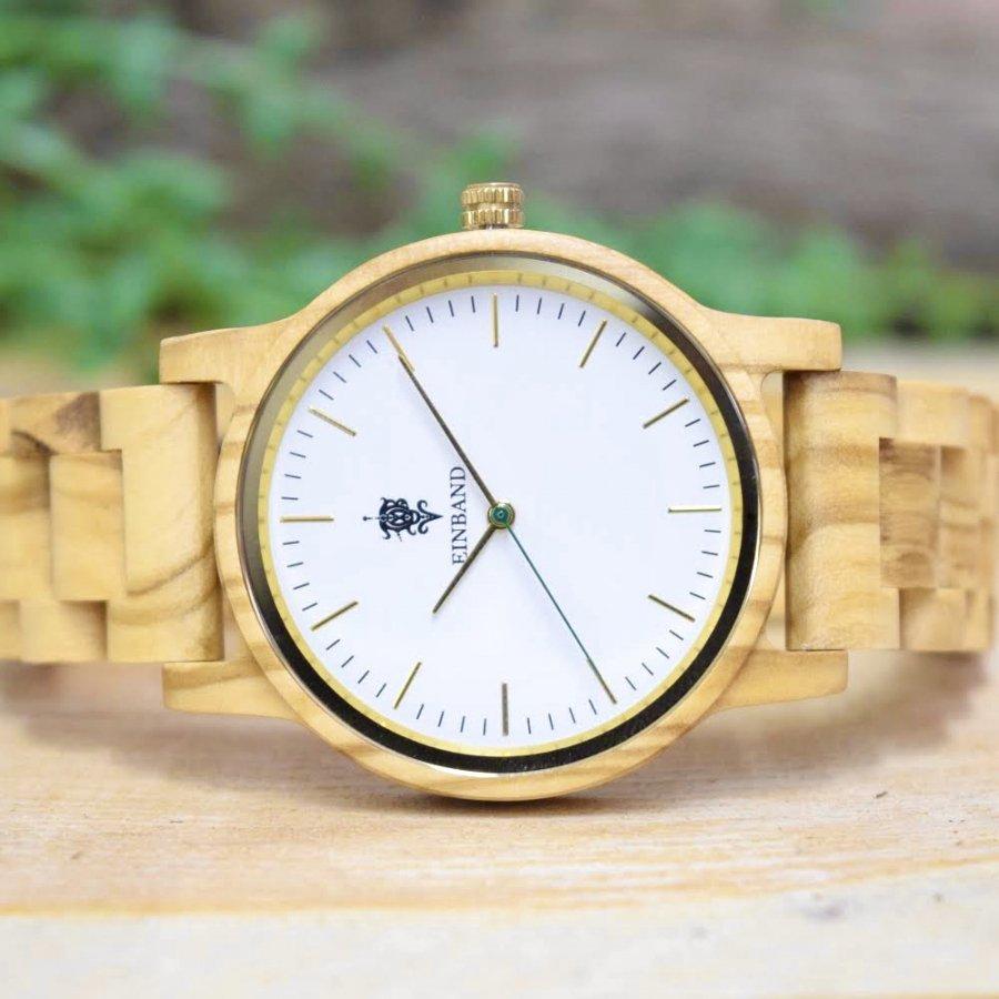 EINBAND Glanz Olive 木製腕時計 木製ベルト 40mm【限定カラー】