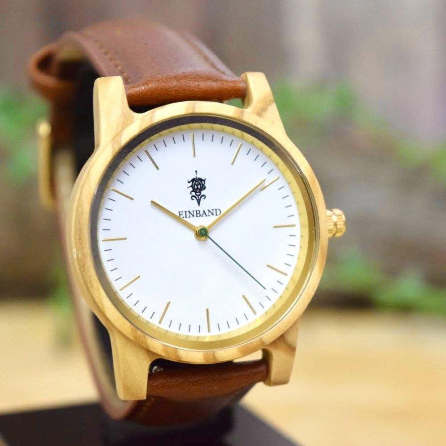EINBAND Glanz Olive 木製腕時計 ブラウンレザー 36mm【限定カラー】