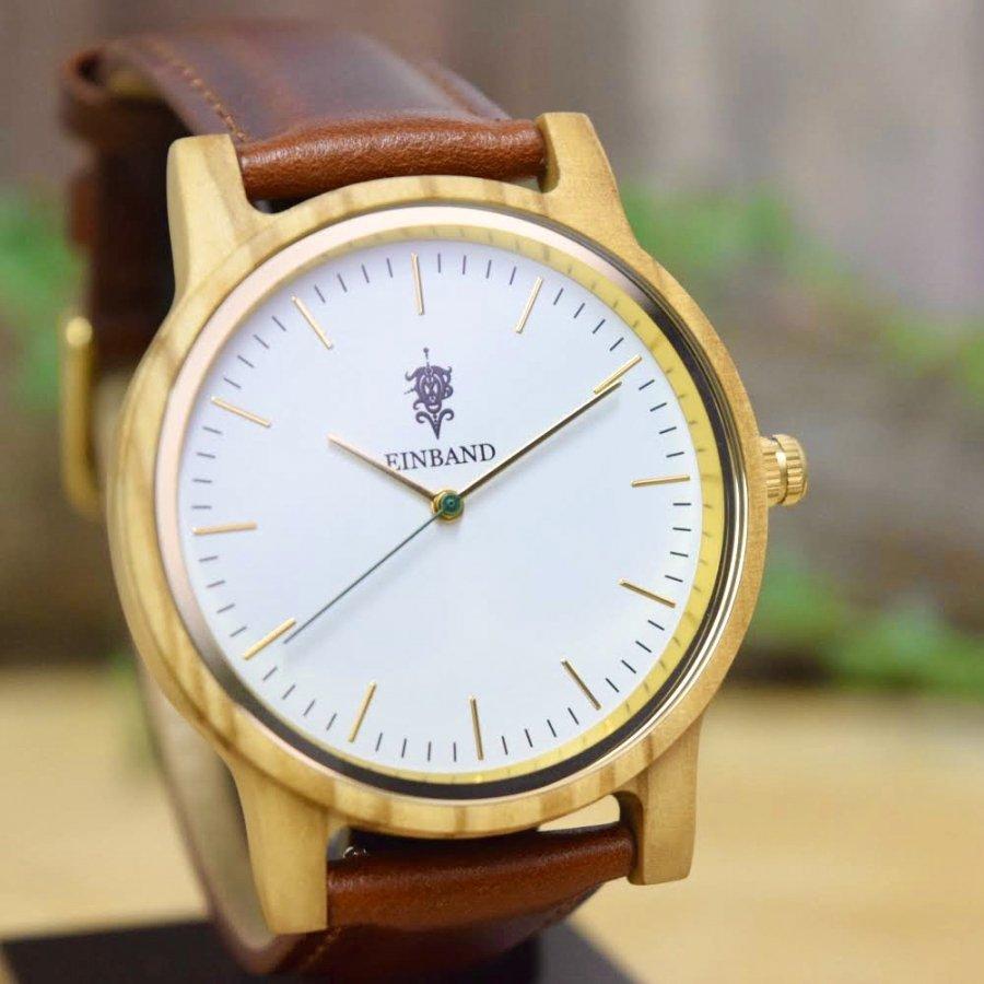 EINBAND Glanz Olive 木製腕時計 ブラウンレザー 40mm【限定カラー】