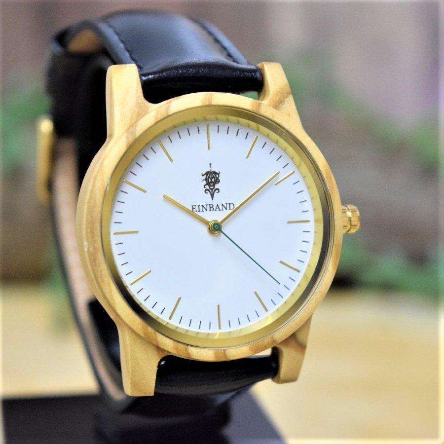 EINBAND Glanz Olive 木製腕時計 ブラックレザー 36mm【限定カラー】