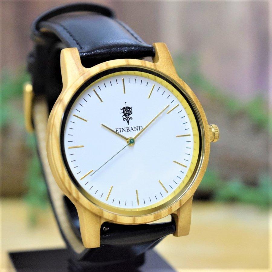 EINBAND Glanz Olive 木製腕時計 ブラックレザー 40mm【限定カラー】