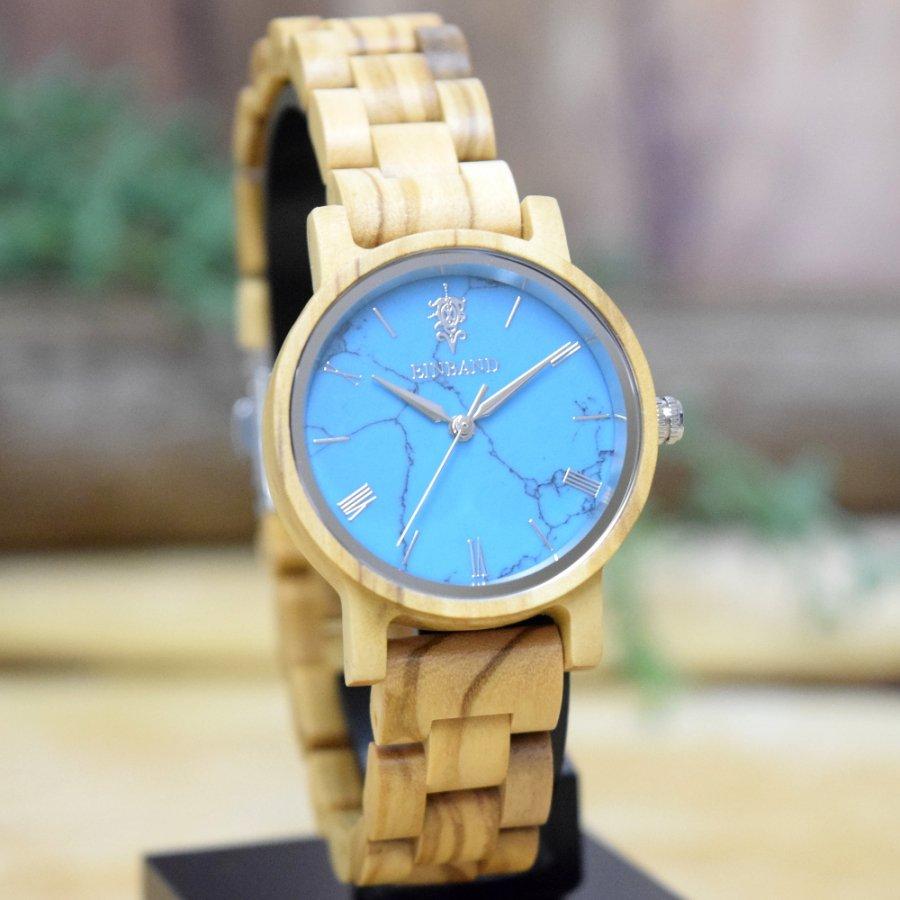 EINBAND Reise Turquoise & Olive 天然石木製腕時計 32mm 【初回限定生産】