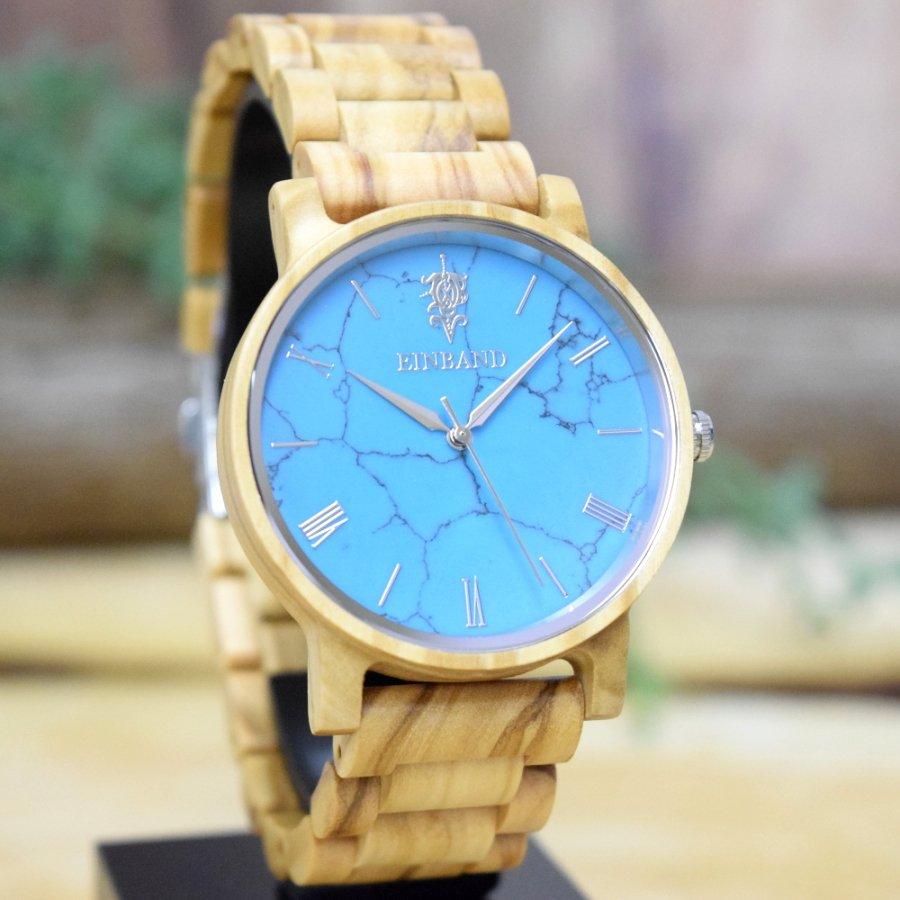 EINBAND Reise Turquoise & Olive 天然石木製腕時計 40mm 【初回限定生産】