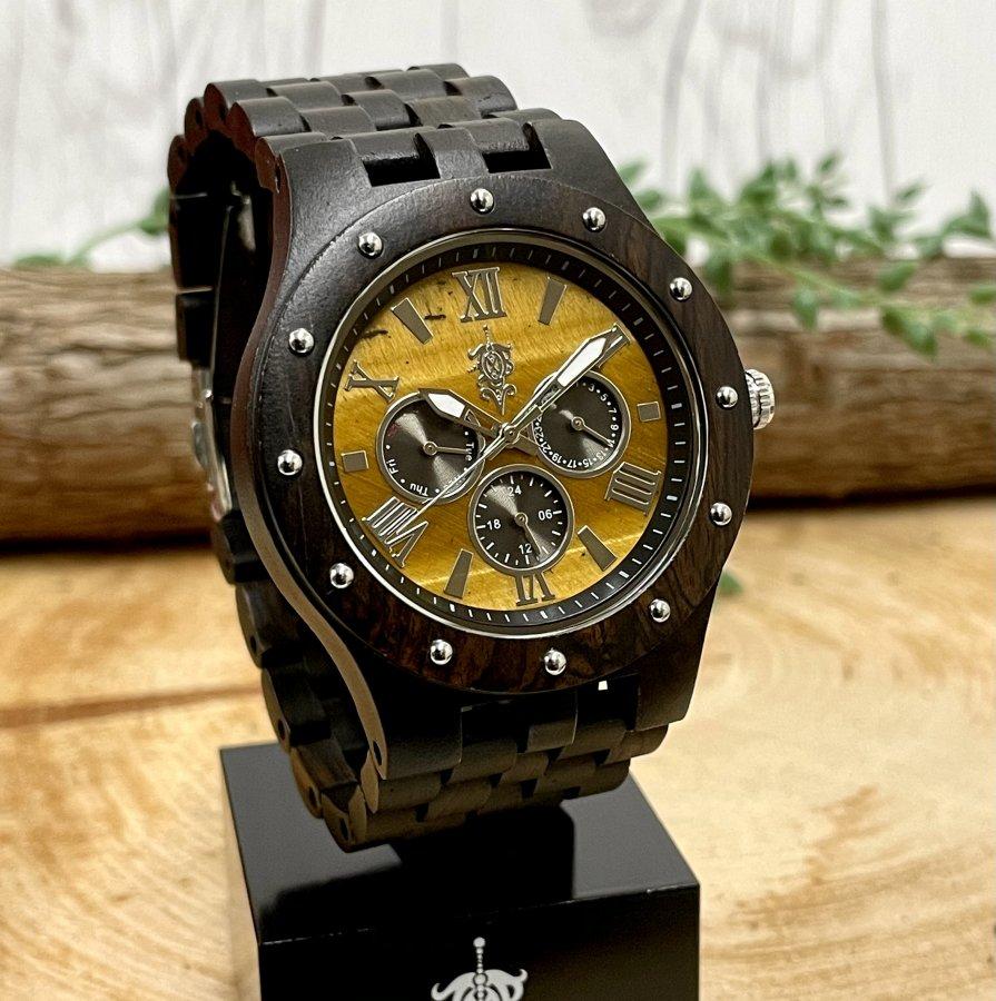 EINBAND Sand Tiger Eye×Ebony 天然石木製腕時計 46mm【初回限定生産】