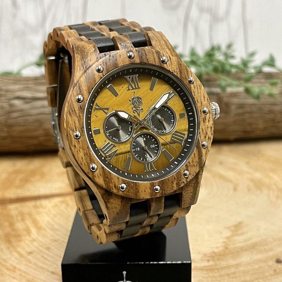 EINBAND Sand Tiger Eye×Zebra & Ebony 天然石木製腕時計 46mm【初回限定生産】