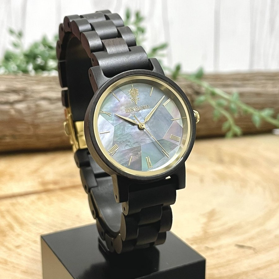 EINBAND Reise Mother of pearl & Ebony wood 天然貝木製腕時計 32mm 【初回限定生産】