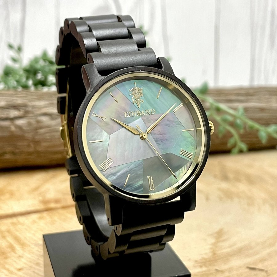 EINBAND Reise Mother of pearl & Ebony wood 天然貝木製腕時計 40mm 【初回限定生産】
