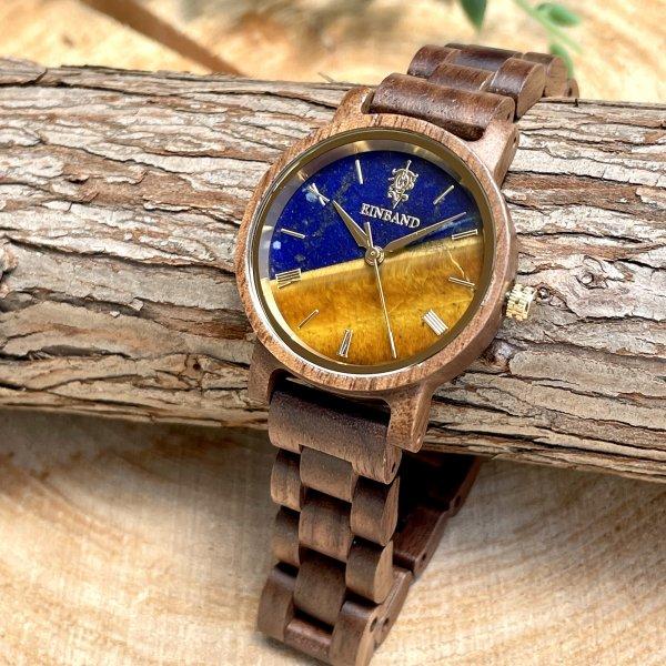 EINBAND Reise Lapis Lazuli & Tiger Eye x Walnut 天然石木製腕時計 32mm