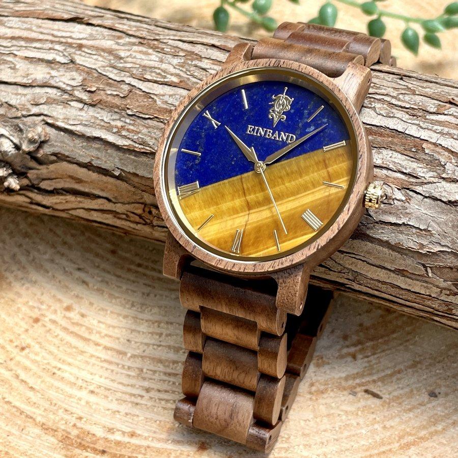 【5/9(日) 22:00〜最終販売開始】EINBAND Reise Lapis Lazuli & Tiger Eye x Walnut 天然石木製腕時計 40mm