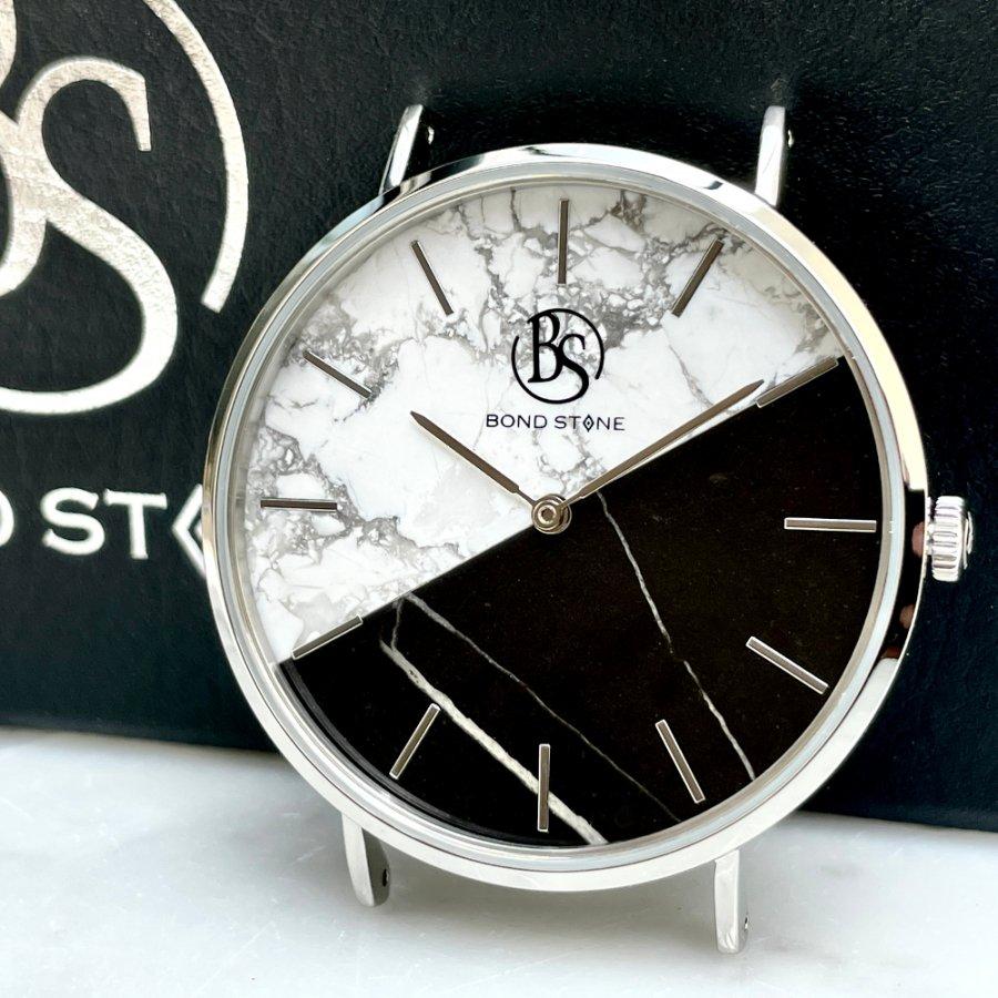BOND STONE SHINE 天然石腕時計 ツートンダブル大理石 40mm