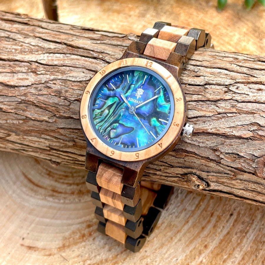 【再販売】EINBAND Traum Avalon shell × Sandalwood & Olive 天然貝木製腕時計 32mm