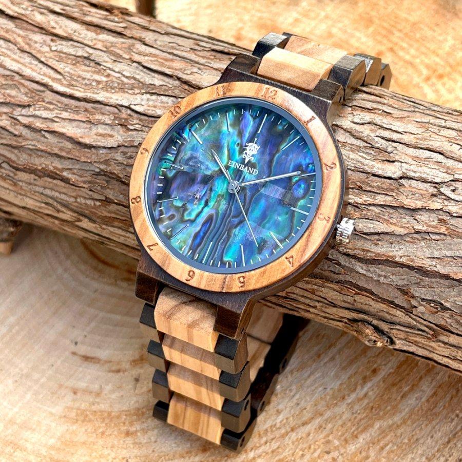 【再販売】EINBAND Traum Avalon shell × Sandalwood & Olive 天然貝木製腕時計 40mm