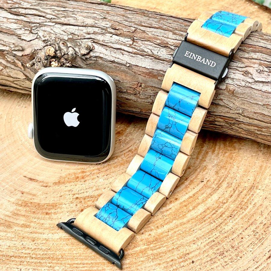 EINBAND AppleWatch 天然木バンド Turquoise x Maple wood 【初回限定生産】