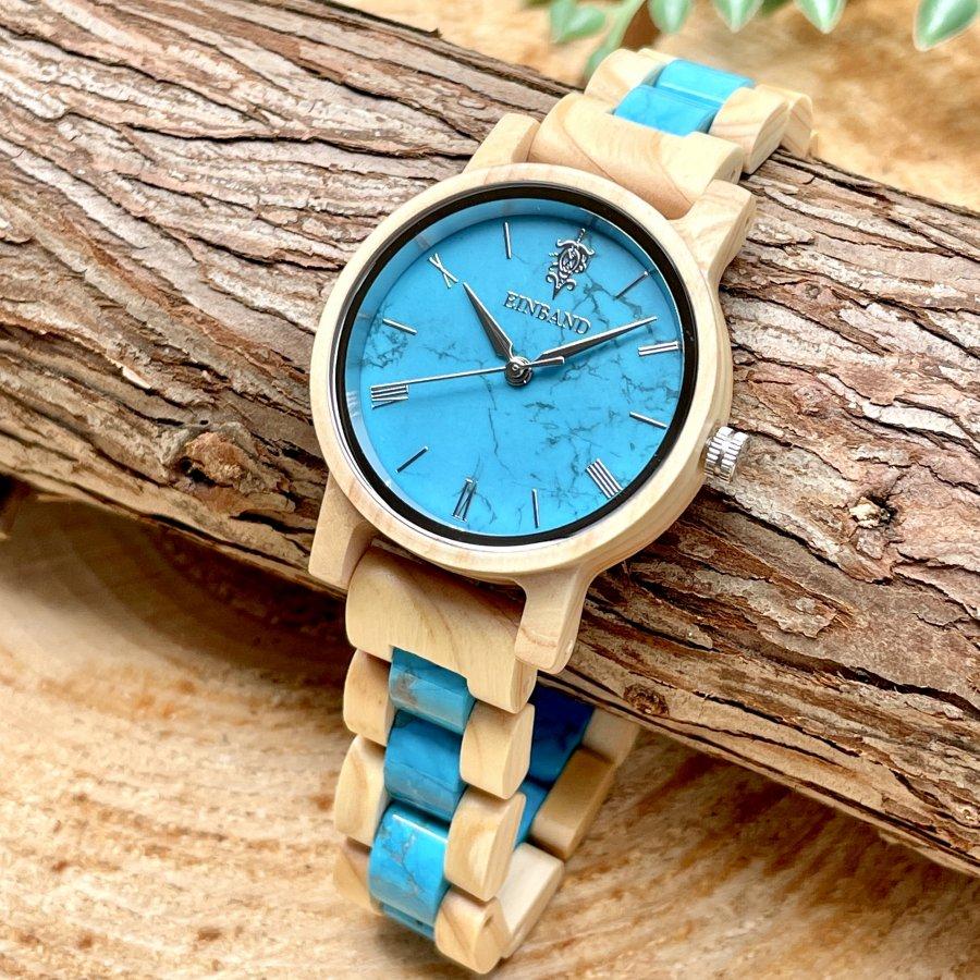 EINBAND Reise Turquoise × Hinoki(檜) 天然石木製腕時計 32mm 【初回限定生産】