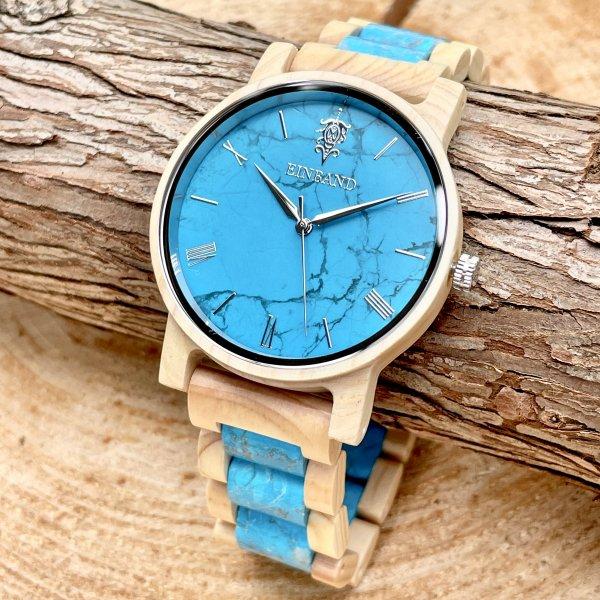 EINBAND Reise Turquoise × Hinoki(檜) 天然石木製腕時計 40mm 【初回限定生産】