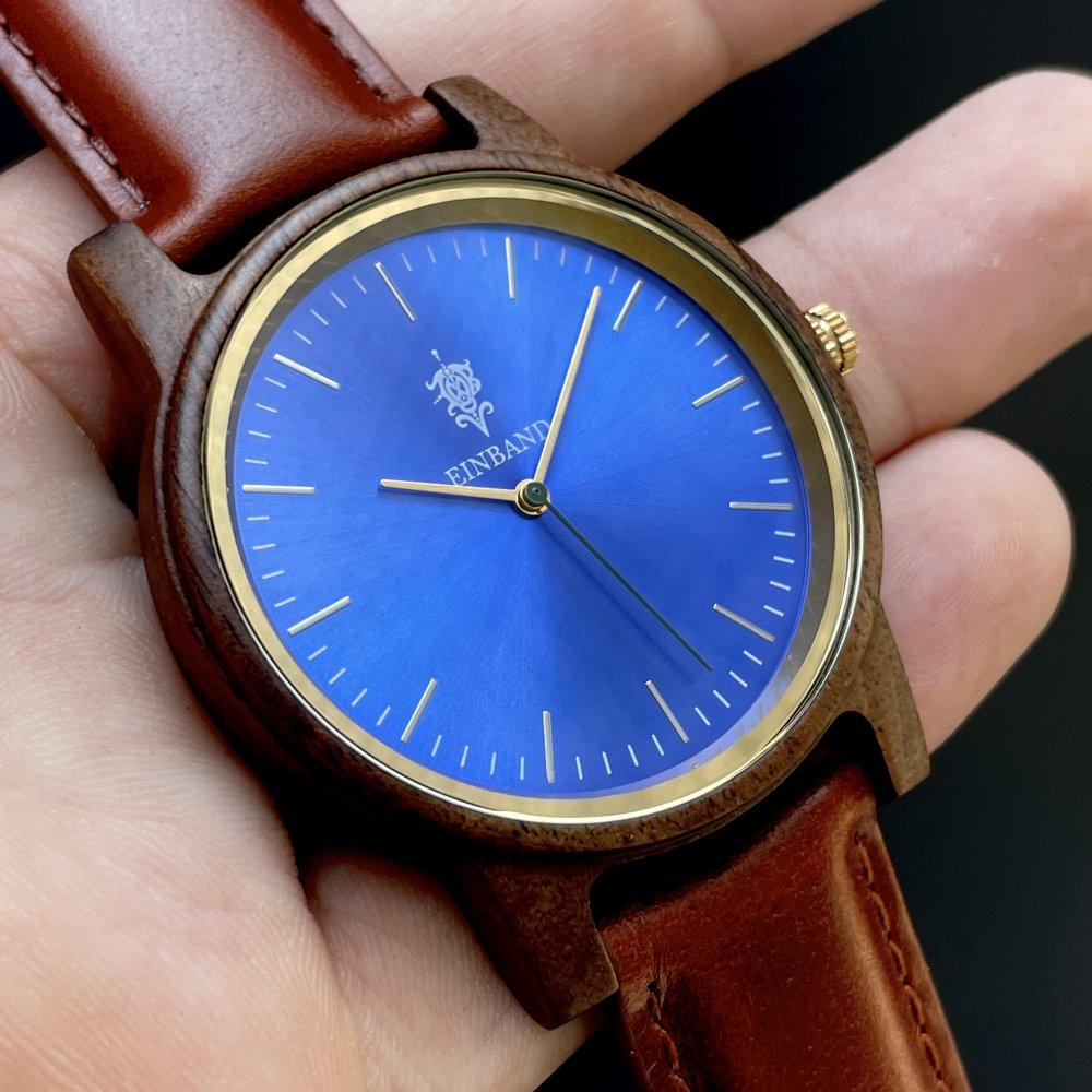 EINBAND Glanz グラデーションブルー × Walnut  木製腕時計 40mm