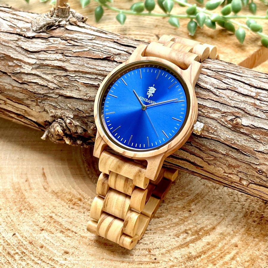 EINBAND Glanz グラデーションブルー × Olive 木製腕時計 40mm
