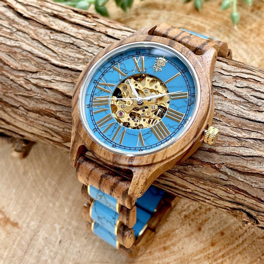 【9/15(水) 22:00〜発売開始】EINBAND Frieden Turquoise × Zebra Wood 42mm  自動巻き木製腕時計