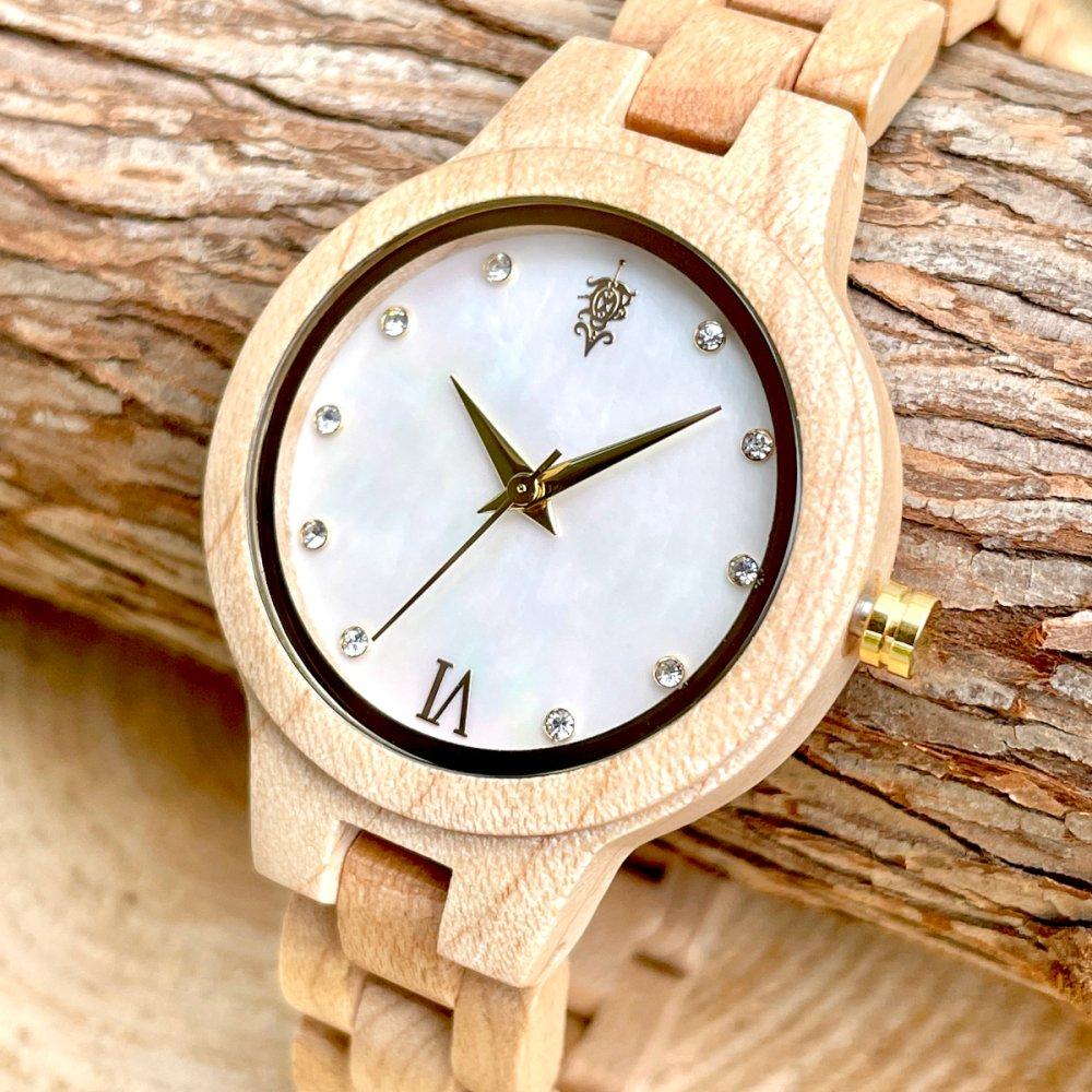 EINBAND Prima Maple wood × Mother of pearl 天然貝木製腕時計 34mm ホワイト文字盤