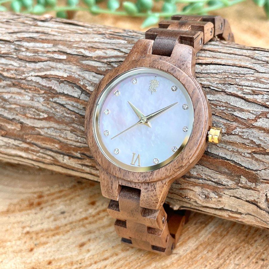 EINBAND Prima Walnut × Mother of pearl 天然貝木製腕時計 34mm ホワイト文字盤