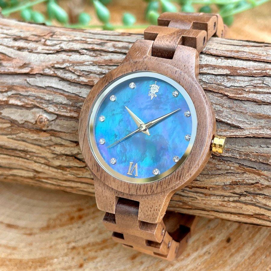 EINBAND Prima Walnut × Mother of pearl 天然貝木製腕時計 34mm ブルー文字盤