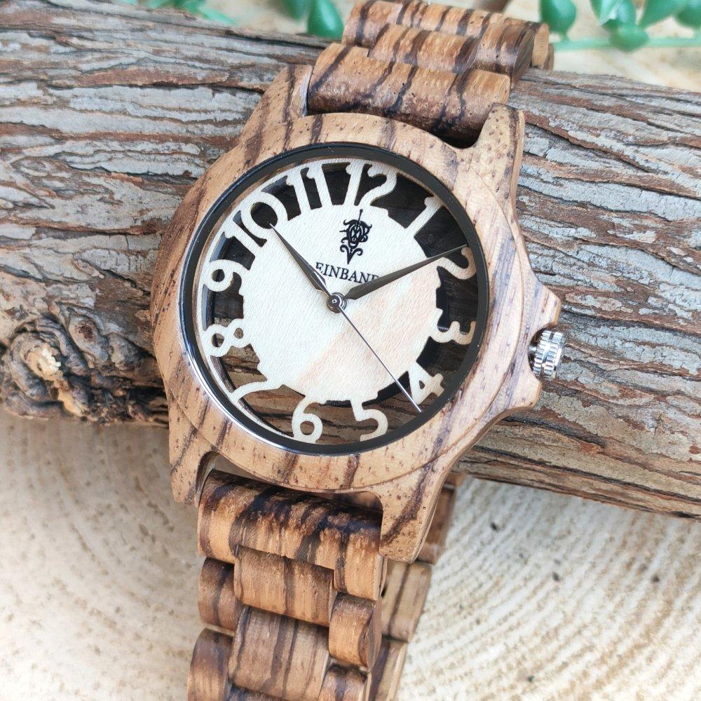 EINBAND Freiheit Zebrawood 木製腕時計 40mm