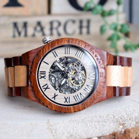 EINBAND Eins brown&beige 46mm 自動巻き木製腕時計 【初回100個限定生産】
