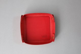 LEATHER TRAY  red -S-