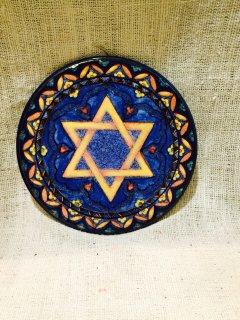 スペイン ダビデの星の壁掛け 陶器