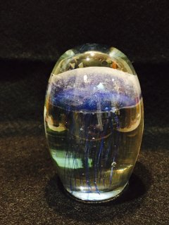 蓄光ガラスクラゲの置物F ブルー