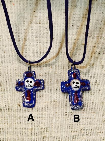 メキシコ カラベラの十字架ネックレス