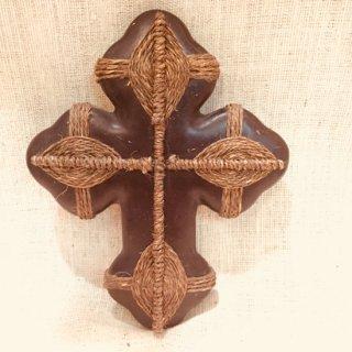メキシコ 陶器の十字架  黒