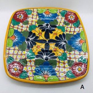 メキシコ グアナファト焼き  プレート大 四角 A イエロー