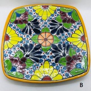 メキシコ グアナファト焼き  プレート大 四角 B イエロー