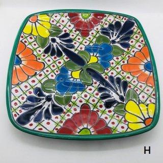 メキシコ グアナファト焼き  プレート大 四角 H グリーン