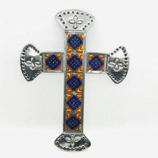 メキシコ・オアハカ オハラタ 十字架の壁掛け タイル E