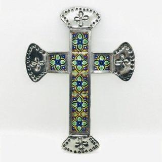 メキシコ・オアハカ オハラタ 十字架の壁掛け タイル F